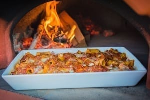 Real wood taste baked pasta