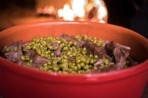 Traditional beef stew with peas